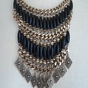 Vintage 80s Egyptian Bib Necklace Black and Gold
